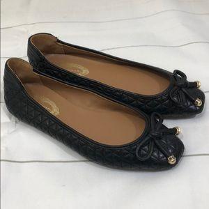 Elie Tahari • black leather flats ballet style